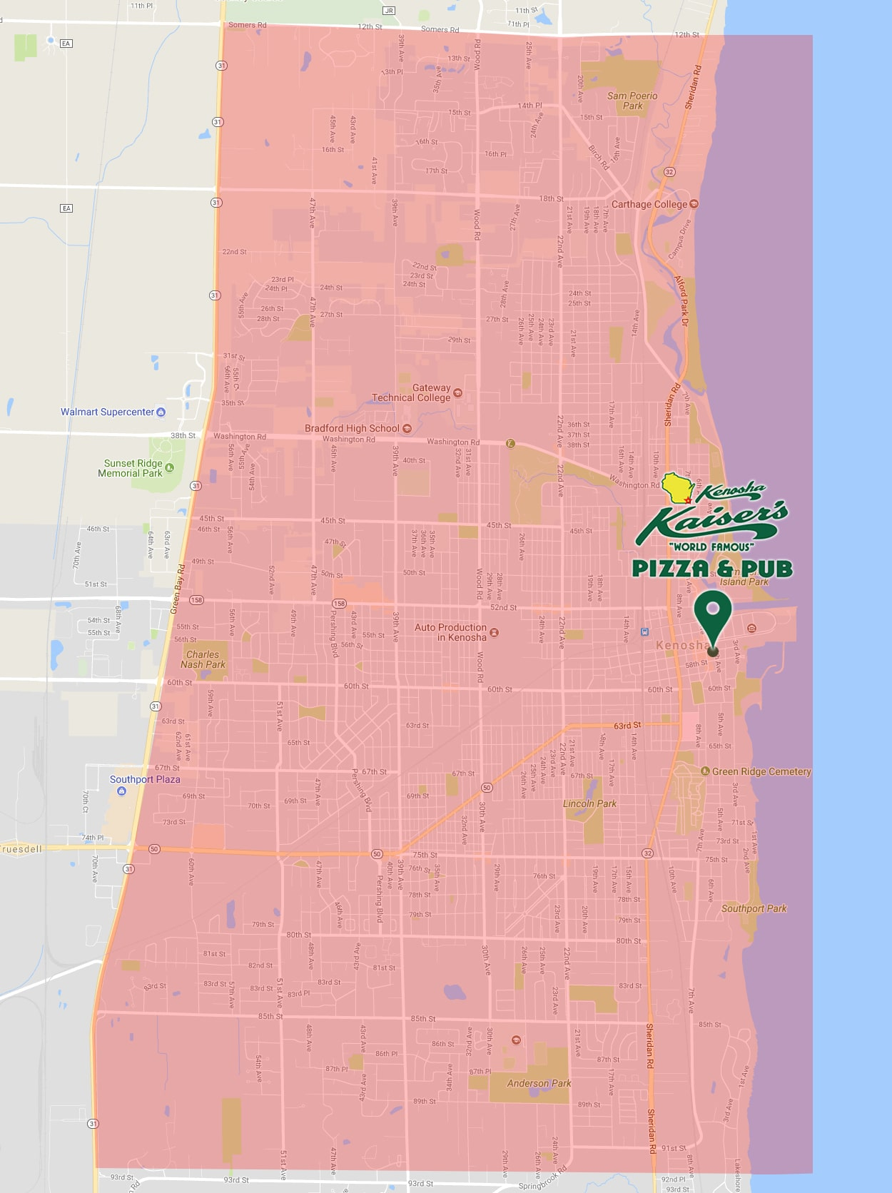 kaiser's delivery area, service area, kaiser's pizza delivery zone